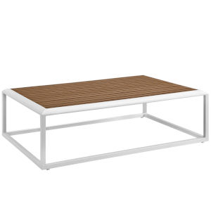 Darren White and Natural Outdoor Patio Coffee Table