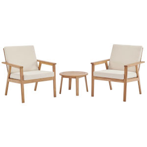 Taryn Natural and Beige Three Piece Outdoor Patio Furniture Set with End Table, Two Armchair