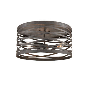 Castor Weathered Iron 16-Inch Three-Light Flushmount