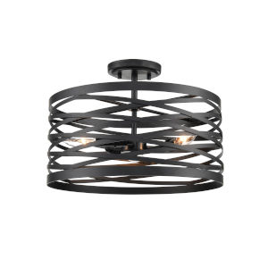 Castor Matte Black 16-Inch Three-Light Semi Flushmount