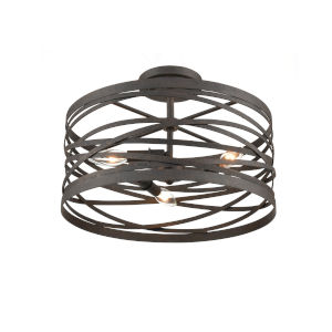 Castor Weathered Iron 16-Inch Three-Light Semi Flushmount