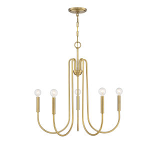 Madison Natural Brass Five-Light Chandelier