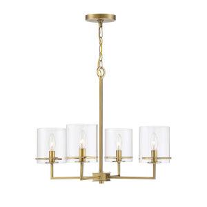 York Natural Brass Four-Light Chandelier