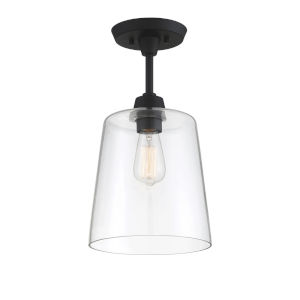 Bryant Matte Black One-Light Semi Flush Mount