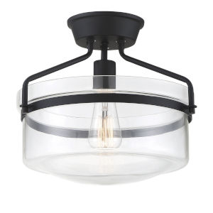Afton Matte Black One-Light Semi Flush Mount