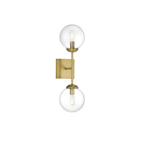 Uptown Natural Brass Two-Light Wall Sconce