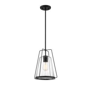 Fredrick Matte Black One-Light Outdoor Pendant