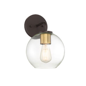 York Oil Rubbed Bronze and Brass One-Light Outdoor Wall Sconce