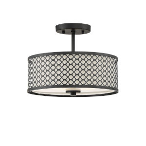 Nicollet Matte Black Two-Light Semi Flush Mount
