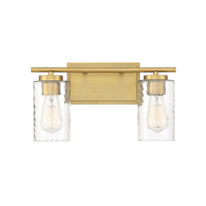 York Natural Brass Two-Light Bath Vanity