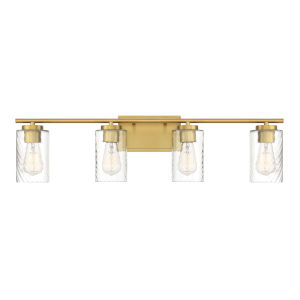 York Natural Brass Four-Light Bath Vanity