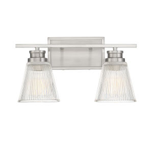 Nora Brushed Nickel Two-Light Bath Vanity