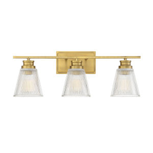 Nora Natural Brass Three-Light Bath Vanity