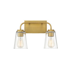 Loring Natural Brass Two-Light Bath Vanity