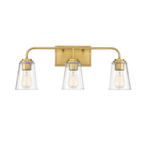 Loring Natural Brass Three-Light Bath Vanity