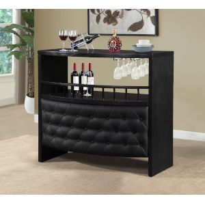 Selby Black Tufted Bar Table with Wine Rack