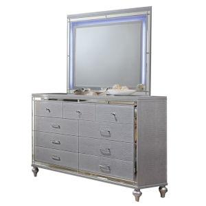Monroe Silver Nine-Drawer Dresser with Mirror