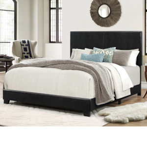 Selby Black Leather King Bed