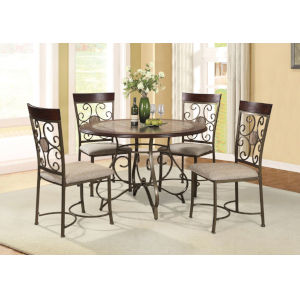 Whittier Brown Table with Metal Base