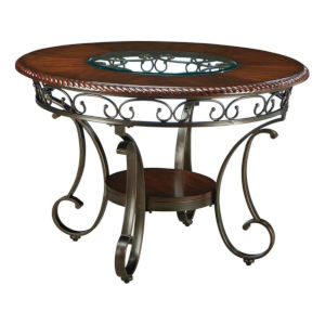 Whittier Espresso Table with Glass Inset