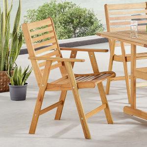 Darren Natural Outdoor Patio Eucalyptus Wood Dining Armchair