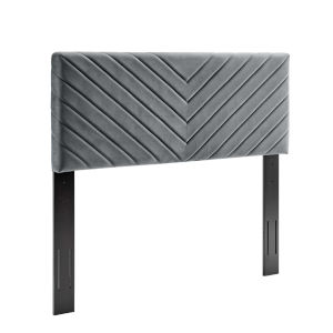 Cooper Charcoal Angular Channel Tufted Performance Velvet Twin Headboard