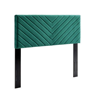 Cooper Teal Angular Channel Tufted Performance Velvet Twin Headboard