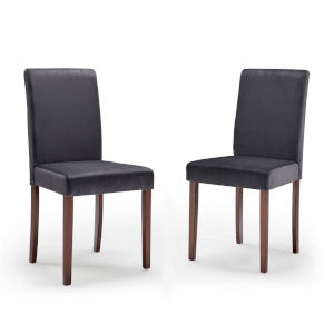 Monroe Gray Upholstered Velvet Dining Side Chair, Set of Two