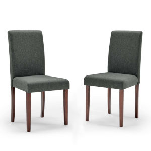 Monroe Gray Upholstered Fabric Dining Side Chair, Set of Two