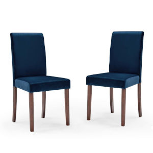 Monroe Navy Upholstered Velvet Dining Side Chair, Set of Two