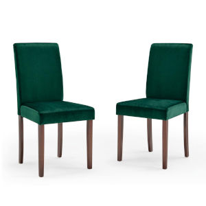 Monroe Green Upholstered Velvet Dining Side Chair, Set of Two