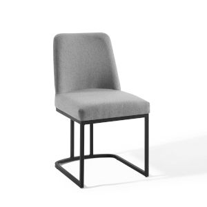 Nicollet Black Light Gray Sled Base Upholstered Fabric Dining Side Chair