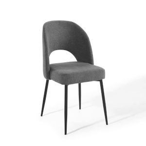 Nicollet Black Charcoal Upholstered Fabric Dining Side Chair