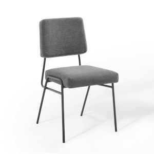 Uptown Black Charcoal Upholstered Fabric Dining Side Chair