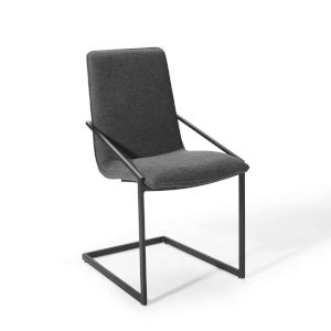 Uptown Black Charcoal Upholstered Fabric Dining Armchair