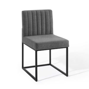 Cooper Black Charcoal Channel Tufted Sled Base Upholstered Fabric Dining Chair