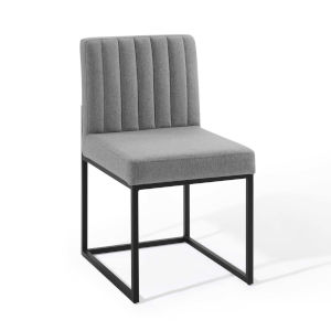 Cooper Black Light Gray Channel Tufted Sled Base Upholstered Fabric Dining Chair