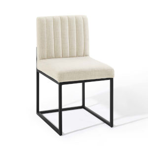 Cooper Black Beige Channel Tufted Sled Base Upholstered Fabric Dining Chair