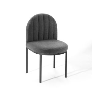 Cooper Black Charcoal Channel Tufted Upholstered Fabric Dining Side Chair