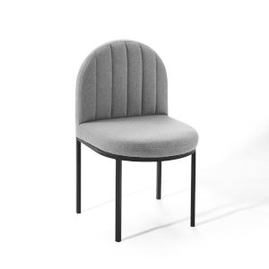 Cooper Black Light Gray Channel Tufted Upholstered Fabric Dining Side Chair