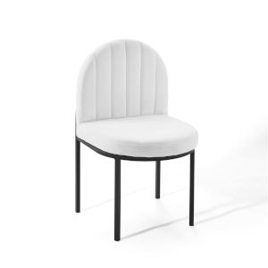 Cooper Black White Channel Tufted Upholstered Fabric Dining Side Chair