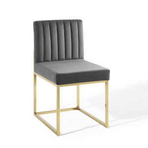 Cooper Gold Charcoal Channel Tufted Sled Base Performance Velvet Dining Chair