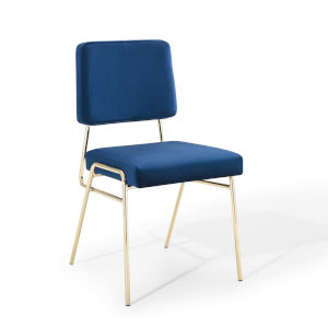 Cooper Gold Navy Performance Velvet Dining Side Chair