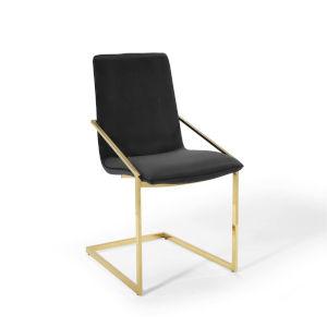 Cooper Gold Black Performance Velvet Dining Armchair