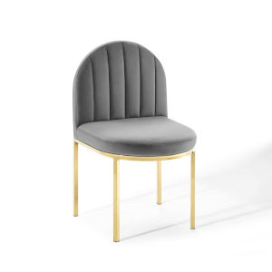 Cooper Gold Gray Channel Tufted Performance Velvet Dining Side Chair