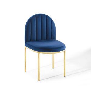 Cooper Gold Navy Channel Tufted Performance Velvet Dining Side Chair