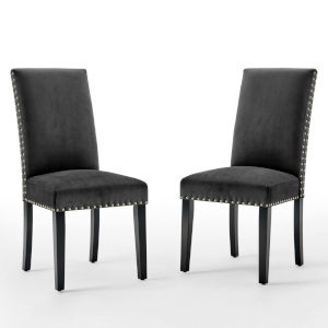 Monroe Charcoal Performance Velvet Dining Side Chairs, Set of Two