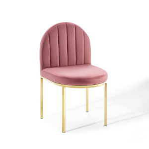Cooper Gold Dusty Rose Channel Tufted Performance Velvet Dining Side Chair