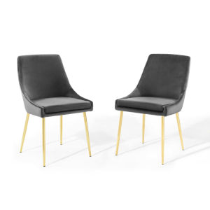 Cooper Gold Charcoal Performance Velvet Dining Chairs, Set of Two
