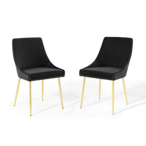 Cooper Gold Black Performance Velvet Dining Chairs, Set of Two